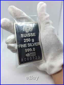 250 Gram PAMP Suisse Fortuna Silver Bar with Assay Very and Holder