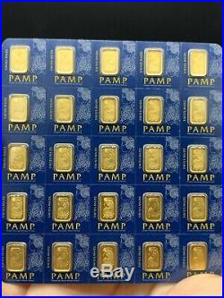 25x1 gram Gold Bar PAMP Suisse -Fortuna- 999.9 Fine in Sealed Assay