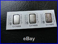 (3) Pamp 1 Gram 999.5 Platinum Bars-