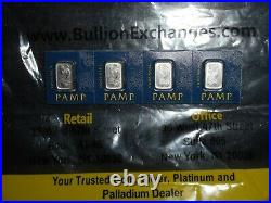 4 x 1 gram Platinum Bar PAMP Suisse Lady Fortuna (In Assay from Multigram+25)