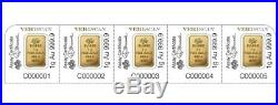 5 1 gram Gold Bars PAMP SUISSE with certificate