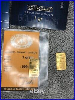 5-1 gram Gold Bars- PAMP Suisse-Credit Suisse- Goldgram- 1 Loose