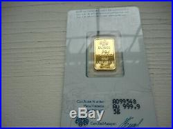5 Gram Gold Bar PAMP Card Sealed w S# & Certificate # Suisse Lady Fortuna