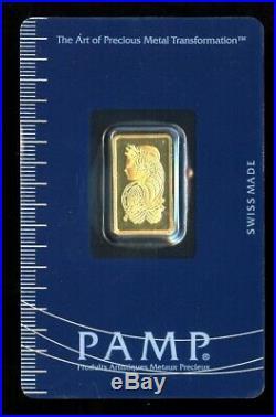5 Gram Gold Bar PAMP Suisse Fortuna 999.9 Fine Sealed Assay 5g