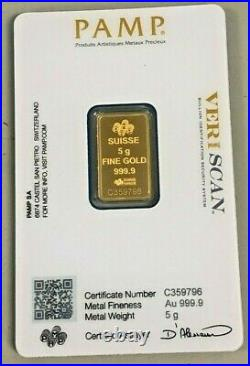 5 Gram PAMP Gold Lady Fortuna. 9999 Fine Sealed Bar In Assay with Veriscan