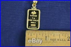 5 Gram PAMP Suisse Lady Fortuna. 9999 Fine Gold Bar Pendant in 14k Bezel