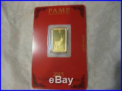 5 Gram Pamp Suisse 2015 Year of the Goat Gold Bar Sealed #C000648