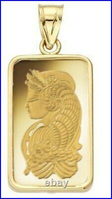5 Gram Pamp Suisse. 999 Lady Fortuna Bar Pendant 24MMX15MM Encased in 14k Gold