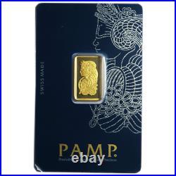 5 Gram Pamp Suisse. 9999 Fine Gold Bar Fortuna Veriscan