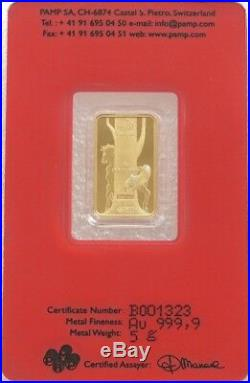 5 Gram Pamp Swiss 2014 Lunar Horse Solid Fine 999.9 Gold Bullion Bar Sealed