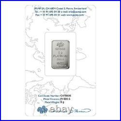 5 Gram Platinum Bar PAMP Suisse Rosa. 9995 Fine (In Assay)