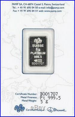 5 Gram Platinum Bar Pamp Suisse. 9995 fine Assay #CJB077