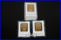 (5) Pamp Suisse Or Credit Suisse 1 Oz. Fine. 999 Gold Bars 5 Ounces Total