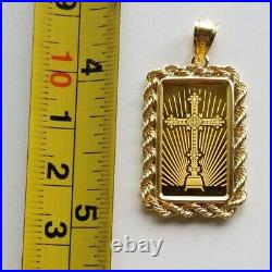 5 g Gold Pamp Suisse Religious Cross Bar/14K Solid Yellow Gold Rope Bezel, 7.58g