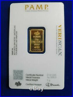 5 g gram. 9999 Gold Bar -PAMP SUISSE VERISCAN- Sealed Assay SHIPS IN 1 DAY