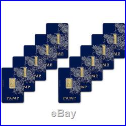 5 gram Gold Bar PAMP Suisse Fortuna 999.9 Fine in Assay Ten 10 Bars