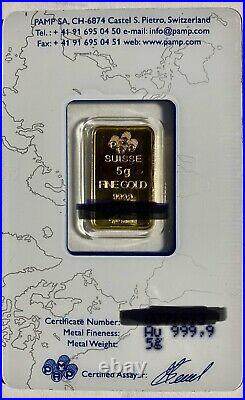 5 gram Gold Bar PAMP Suisse Fortuna 999.9 Fine in Sealed Assay