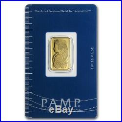 5 gram Gold Bar PAMP Suisse Lady Fortuna (In Assay) SKU #19043