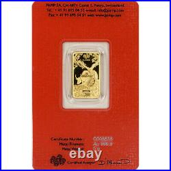 5 gram Gold Bar PAMP Suisse Lunar Year of the Ox 999.9 Fine in Assay
