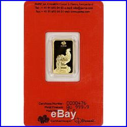 5 gram Gold Bar PAMP Suisse Lunar Year of the Rooster 999.9 Fine in Assay
