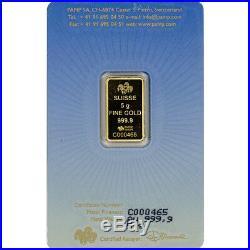 5 gram Gold Bar PAMP Suisse Mecca 999.9 Fine in Assay