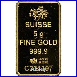 5 gram Gold Bar PAMP Suisse Roman Cross 999.9 Fine in Assay
