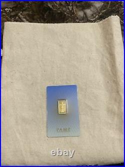 5 gram Gold Bar PAMP Suisse Romanesque Religious Cross Gold-Sealed Assay-RARE