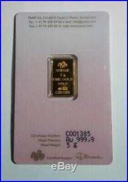 5 gram Gold bar PAMP SUISSE Love Always 999.9 Fine