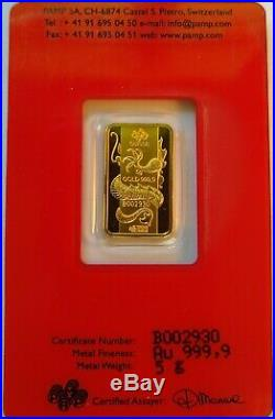 5 gram PAMP Suisse Dragon Gold Bar 2012 Chinese Lunar Year of the Dragon