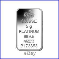 5 gram PAMP Suisse Lady Fortuna Platinum Bar. 9995 Fine (In Assay)