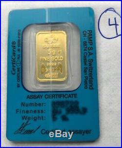 5 gram Pamp Suisse GOLD bar Assay Card Gold Dream