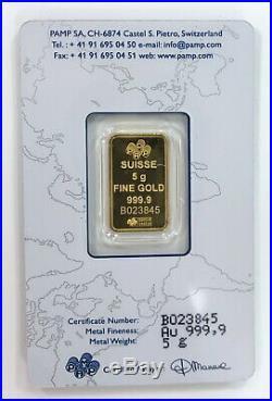 5 gram Pamp Suisse Gold Bar. 9999 Fine (In Assay)