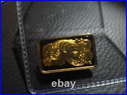 5 gram Pamp Suisse Gold Bar. 9999 Fine Lady Fortuna Horn of Plenty 24K Solid