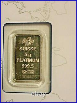 5 gram Platinum Bar PAMP Suisse Lady Fortuna Platinum. 9995 Fine In Assay Sealed