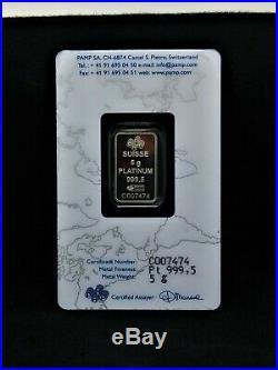 5 gram Platinum bullion PAMP Sealed and certified