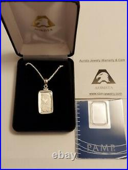 5 gram SILVER PAMP SUISSE FORTUNA NECKLACE WITH ASSAY AURISTA JEWELRY