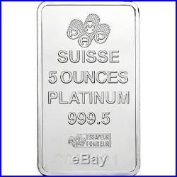 5 oz. Platinum Bar PAMP Suisse Fortuna 999.5 Fine in Plastic Case with Assay
