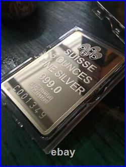 5 oz Silver Bar PAMP Suisse Fortuna In Capsule withAssay IN STOCK