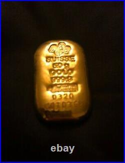 50 Gram Pamp Suisse Gold Bullion Bar with Assay. 9999 Fine Gold (1.608 oz)