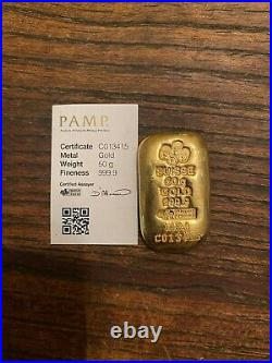 50 gram Gold Bar PAMP Suisse (Cast, withAssay) Certified