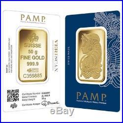 50 gram Gold Bar PAMP Suisse Lady Fortuna Veriscan. 9999 Fine (In Assay)