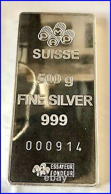 500g Fine Silver Pamp Suisse Lady Fortuna Highly Collectable Low Number 914 Bar