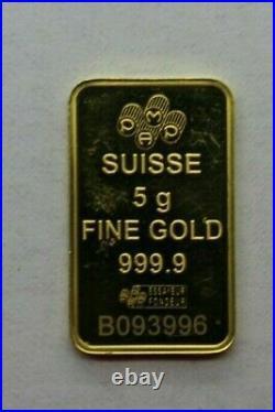 5g PAMP Suisse Lady Fortuna Gold Bar Swiss Gold Bullion. 999.9 Fineness