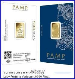 5g gram. 9999 Gold Bar -PAMP SUISSE VERISCAN- Lady Fortuna Sealed Assay