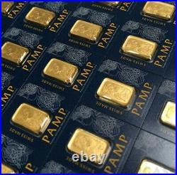 5x 1 gram Multi-gram Gold Bars= BEST VALUE PER BAR FOR PAMP SUISSE withVERISCAN