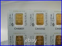 5x 1 gram Multi-gram PAMP SUISSE Gold Bars. 999.9 FINE GOLD. Fortuna. Sealed