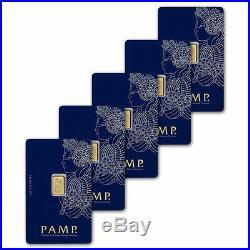 5x PAMP Suisse Fortuna 1g Gram Fine Gold Bar Bullion 999.9 5 Bars