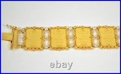 #9376 Credit Suisse Pamp 35 Grams 24K Pure Gold Bar Link Bracelet 21K Filigree