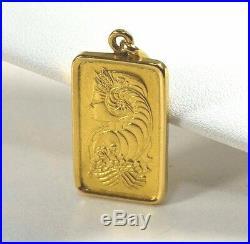 999.9 24k Fine Gold Pamp Suisse 10g Bar in 21k Case Pendant