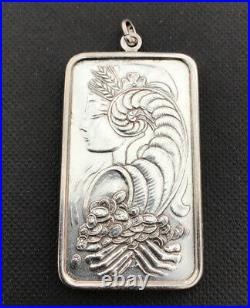 999 Silver One Troy Ounce PAMP Suisse Bar Pendant With Lady Fortuna On Reverse